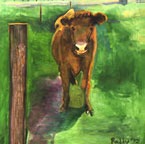Cow on Green Oil Painting